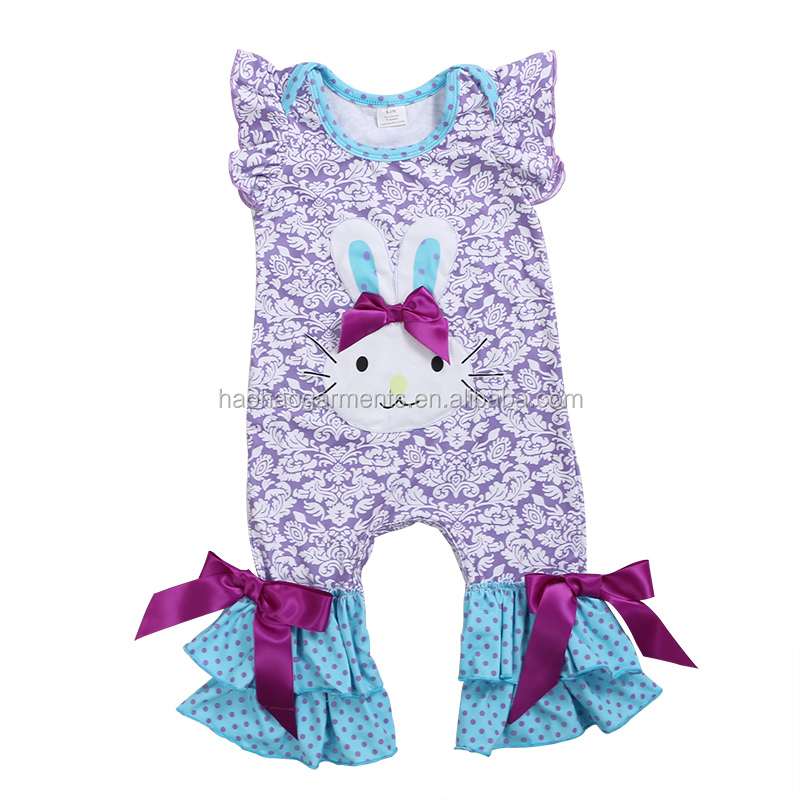Kids Boutique Clothing Wholesale 2018 Purple Damask Bunny Pattern Baby Bodysuit Girls Easter Ruffle Romper Set