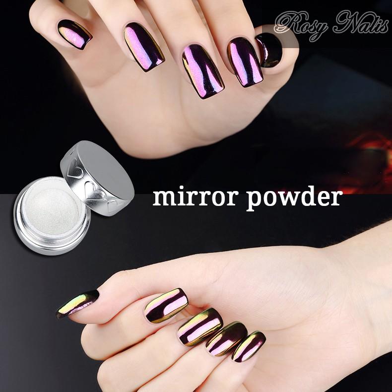 Uñas espejo efecto Glitter pigmento cromo metálico mágico polvo del ...