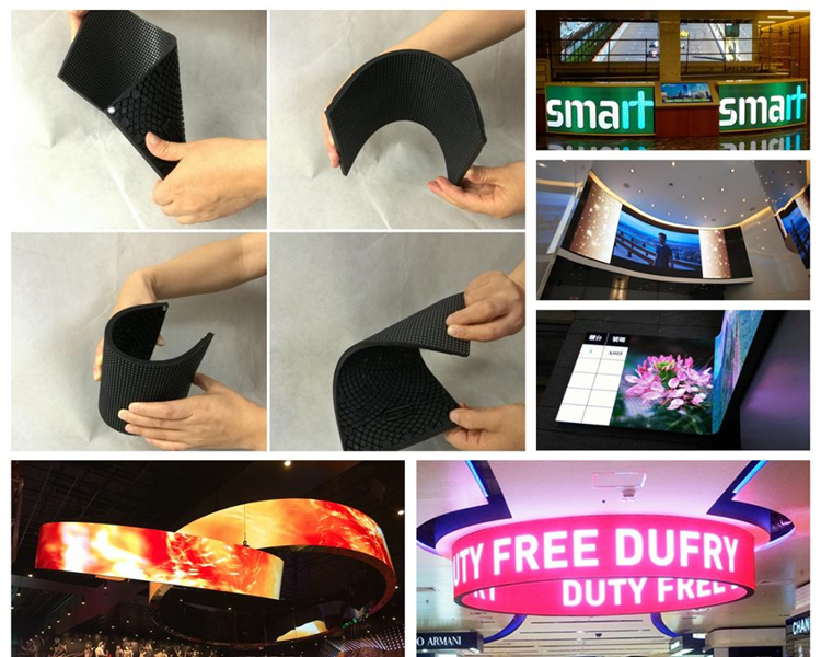 Shenzhen P2 P2.5 P3 P4 Mini Indoor Advertising Board Module Price Flexible Soft Curve Led Display Screen