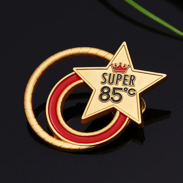 Custom matte gold zinc alloy metal enamel award lapel pins