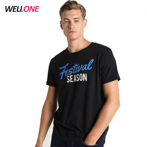 Factory 100% cotton men custom screen printing black unbranded basic overseas t shirts