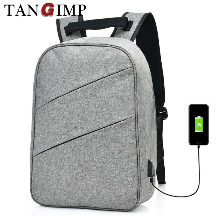 anti-theft canvas grey travel school usb charging laptop backpack bag
