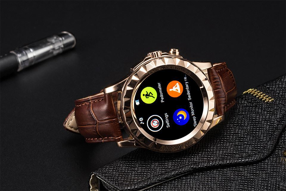 LF08 Touch screen Smart Watch MTK6260 Heart rate monitoring Bluetooth Metal Leather Strap with camera for android smartphone