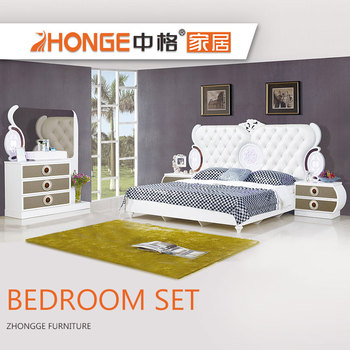 King Size Bed Mdf French Style High Gloss White Modern Wood Home Furniture Fancy Bedroom Set