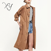 2018 Classical Custom Ladies Fashion Brown Cotton Clothes Long Women Trench Coat