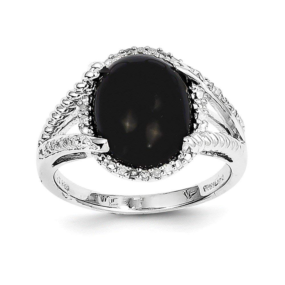 Best Designer Jewelry Sterling Silver Rhodium-plated Onyx and Diamond Ring