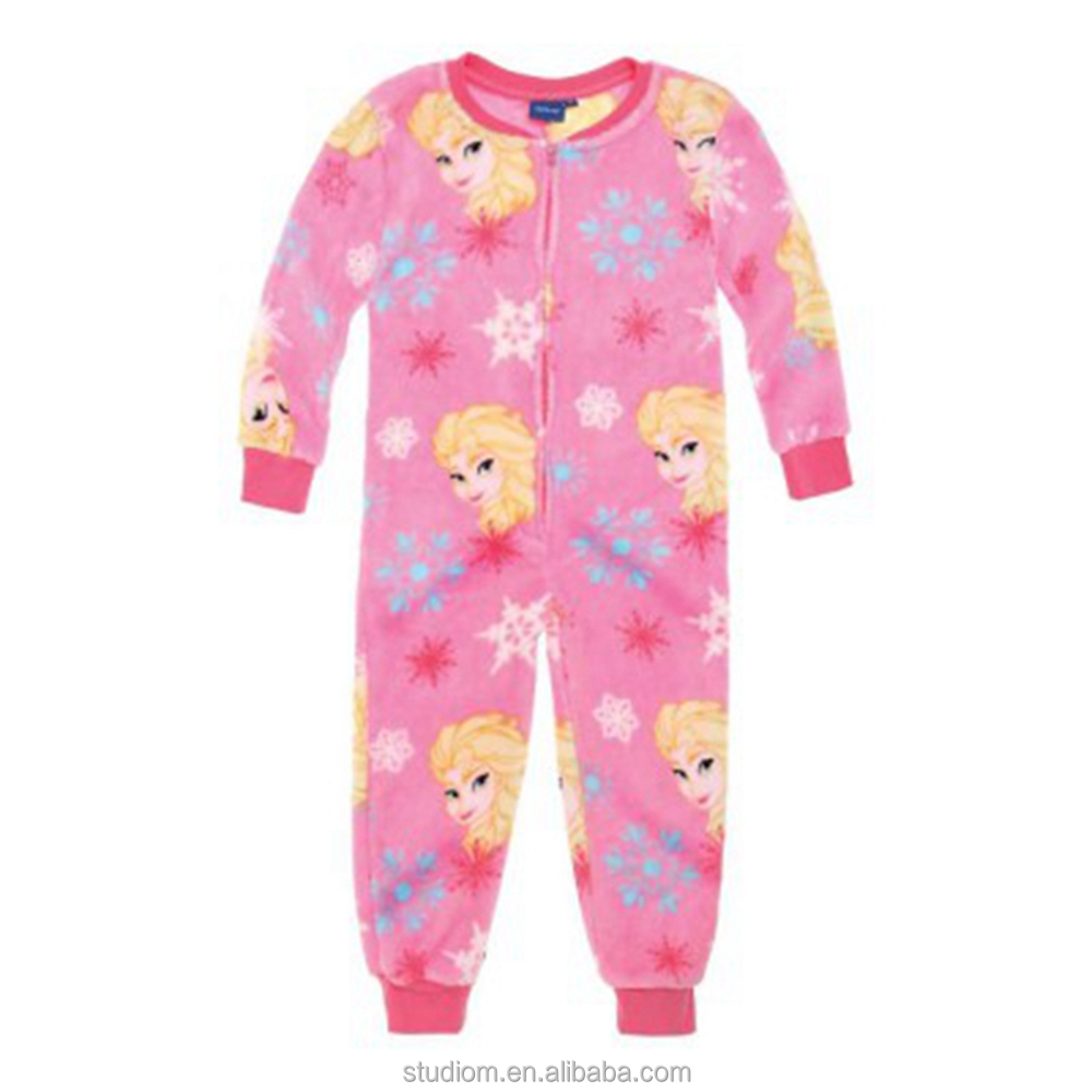 2017 hot sale winter kids onesie pajamas with Frozen print