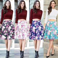 Z&M Women Floral Print Vintage Pleated Fashion Skirt