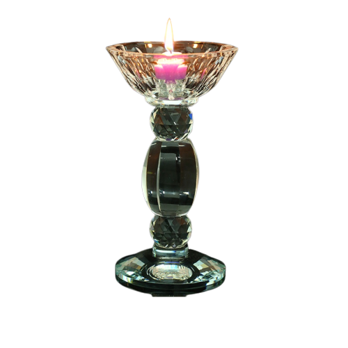 Clear Crystal Taper Candle Holders Long Stem Candlestick Crystal Decor Small Size For Home Decor