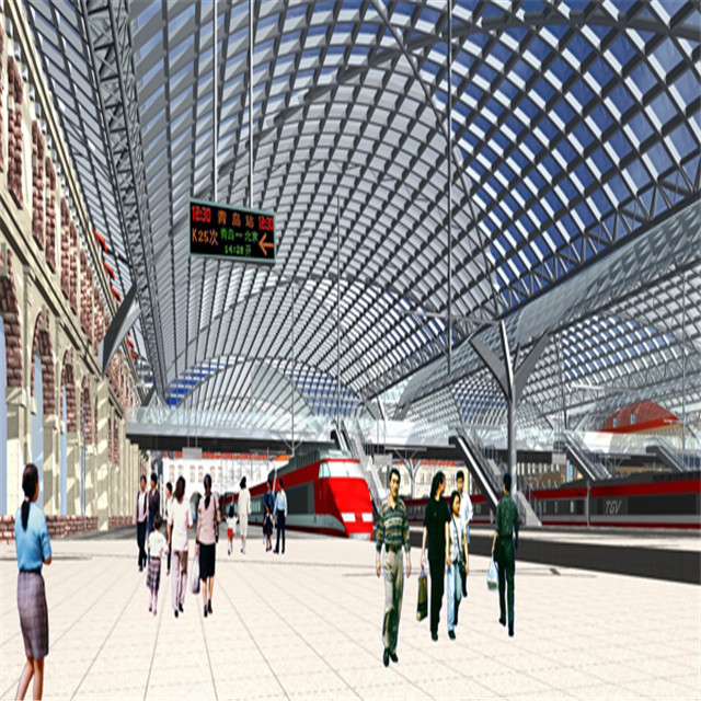 Low cost light steel roof truss with steel pole powder coating building design for railway station