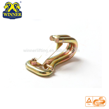 super quality 1-1/16'' long double J hook with safety latch gold supplier;safety belt hook