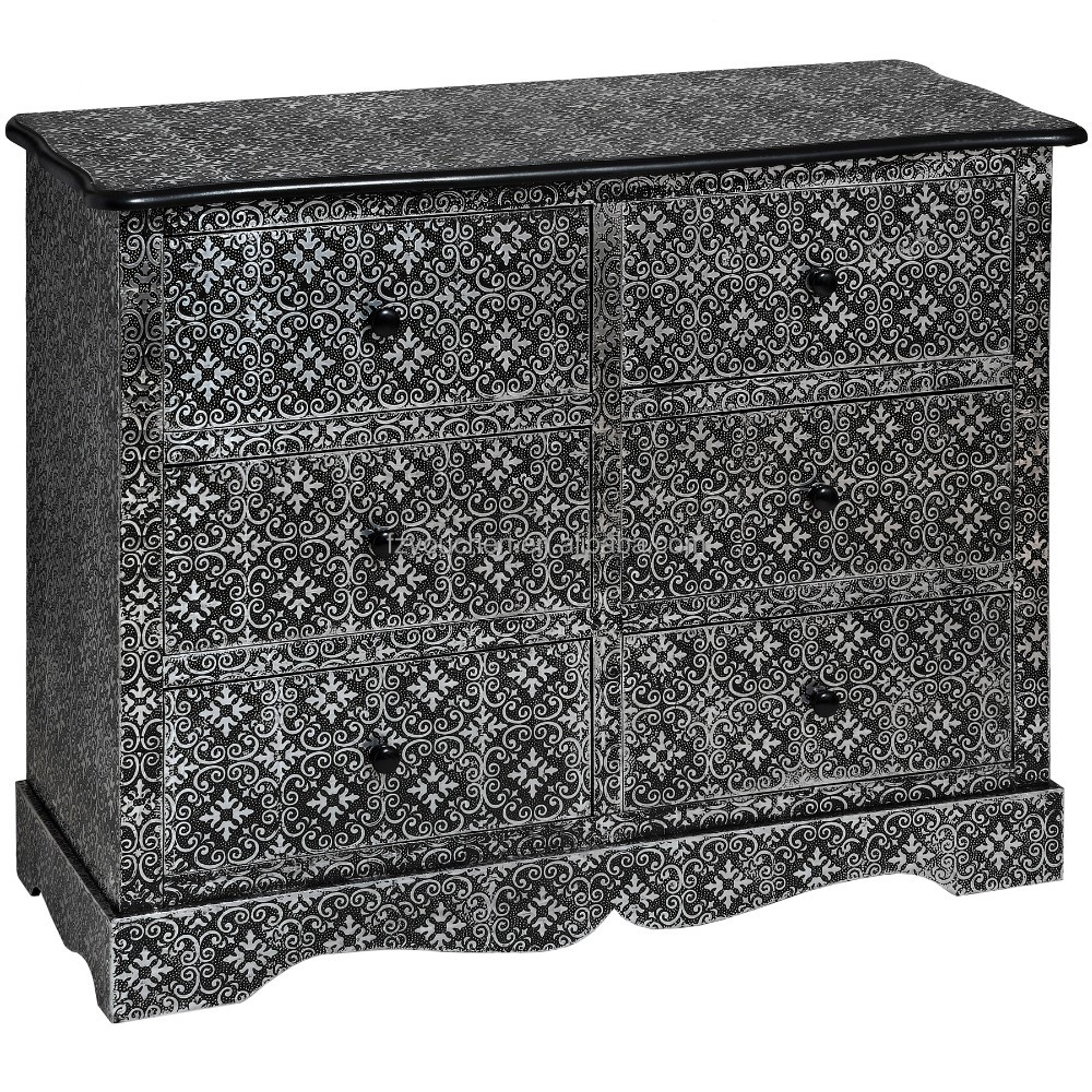 Black Color Marrakech Six Chest of Drawers