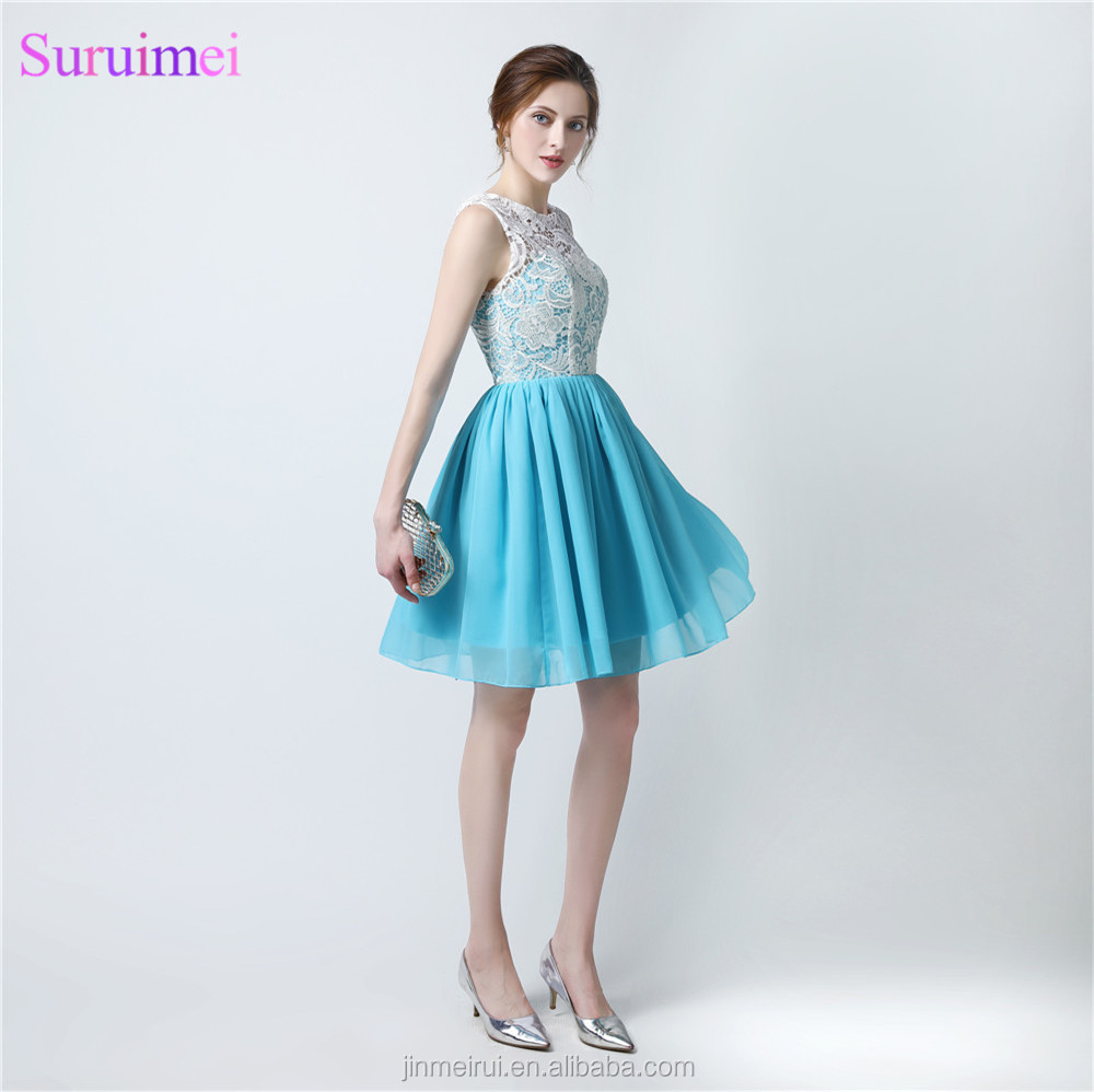Short Lace Prom Gown Sky Blue With Ivory Lace Top Buttons Back See ...