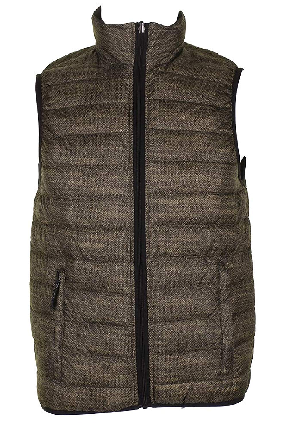 Jaycargogo Men Slim Fit Sleeveless Zip Front Stand Collar Puffer Vest Jackets