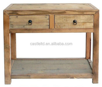 Simple Earthy Raw Wood Tone Side Table,Ming Style Wooden Console Table