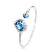 XW5029 xuping blue crystal bangle, women fashion silver color white gold bangle, crystals from Swarovski bracelet bangle