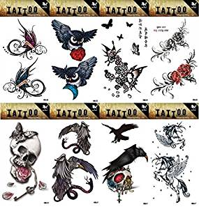 30b8a48e750b4 Get Quotations · GGSELL GGSELL 8pcs different temporary tattoos designs in  one package, it including flowers,butterflies