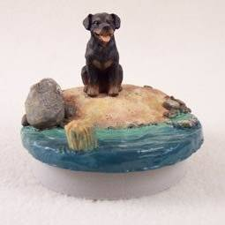 """Conversation Concepts Miniature Rottweiler Candle Topper Tiny One """"A Day on the Beach"""""""