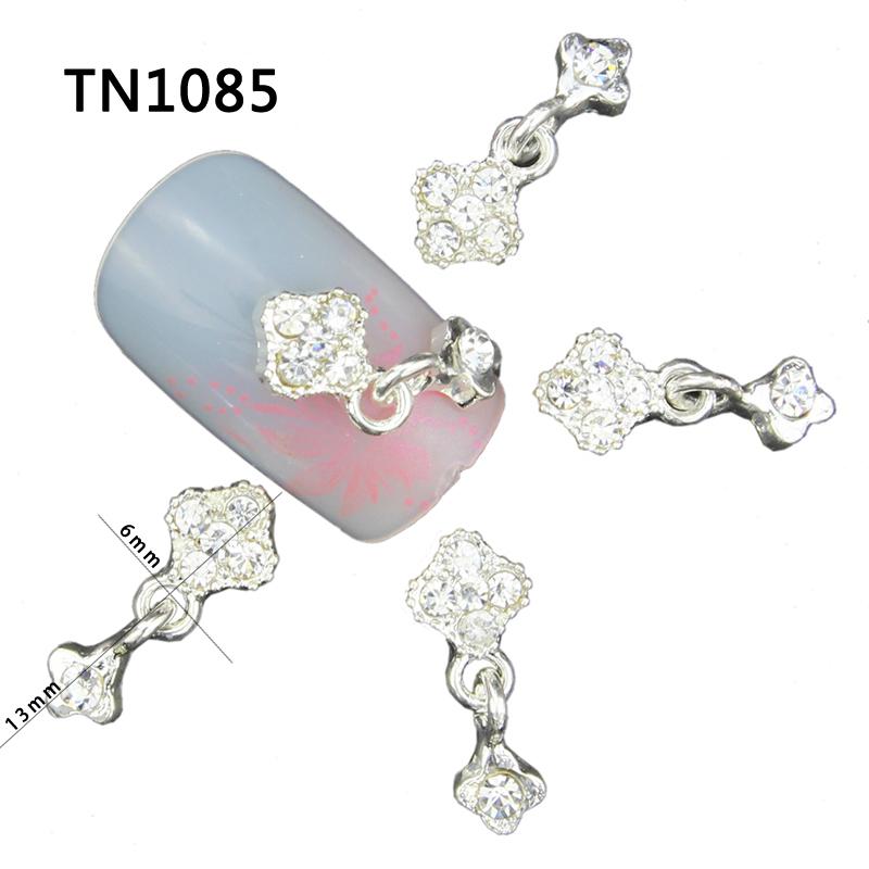 10 Pcs 3D Nail Art Decorations Silver Alloy Diy Glitter Charm Rhinestones Tools With Pendants Used