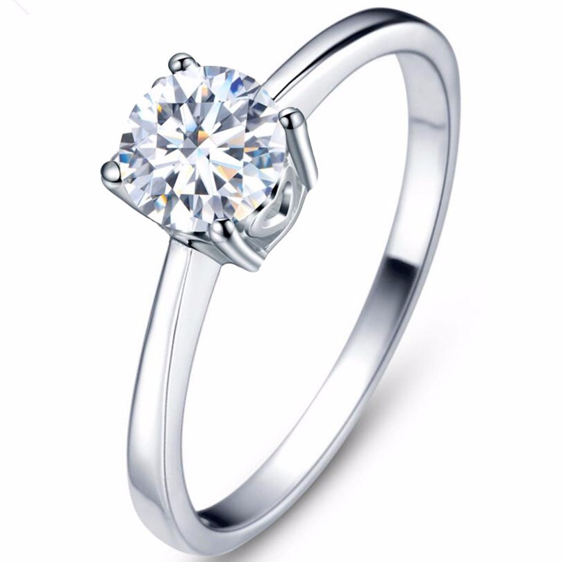High quality 1.2 carat 4 claw CZ ring for women Wedding ring