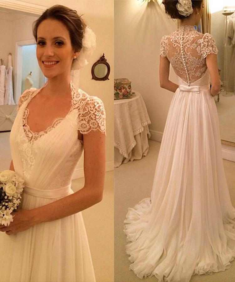 2015 New Fashionable A Line Short Sleeve V Neck White Lace