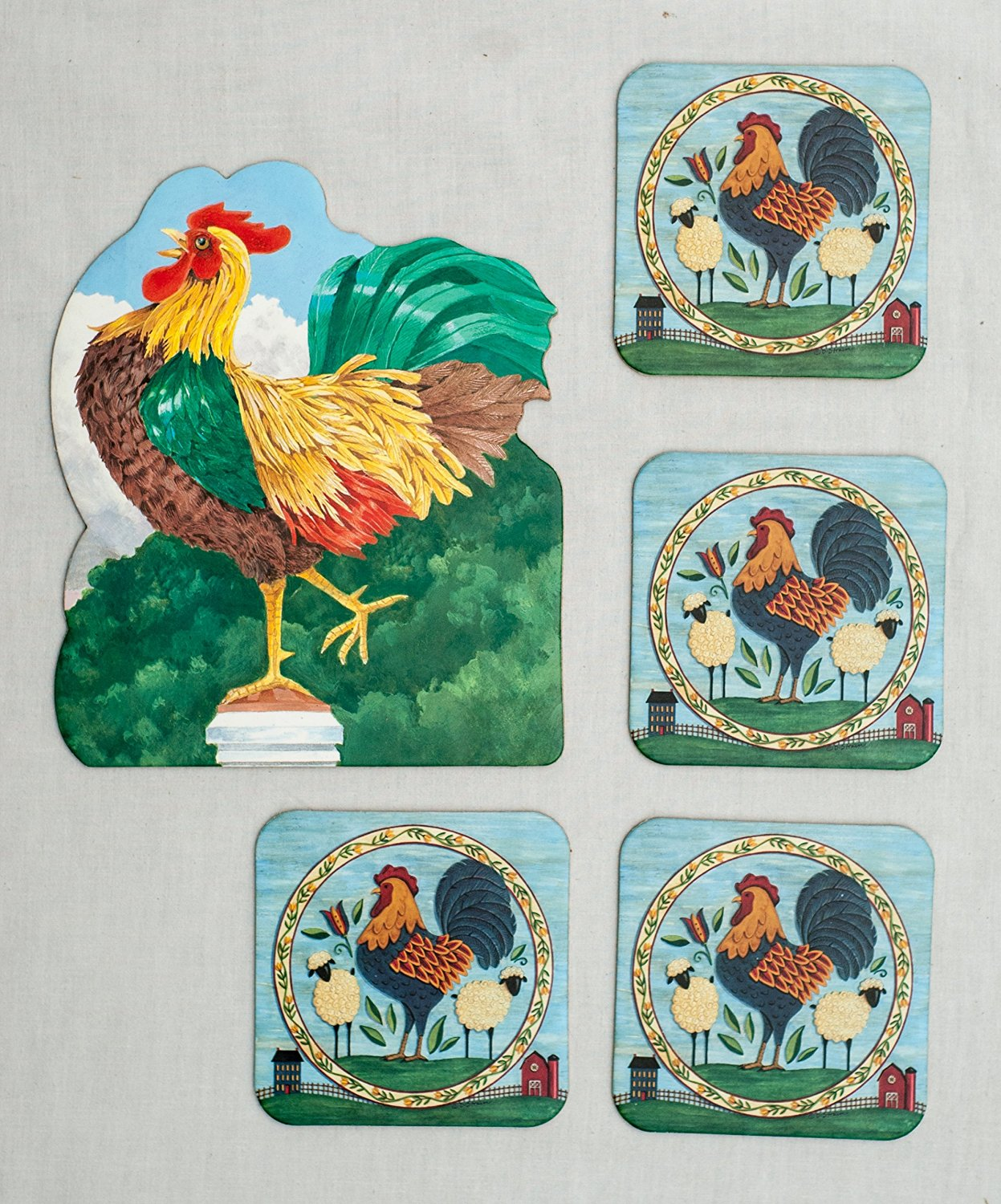 """""""King of the Coop"""" Rooster Themed Absorbent Beverage and Pitcher Coasters with Cork Backing (Pack of 5)"""