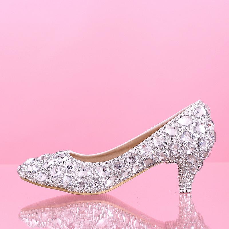 Popular Wedding Shoes Silver Low Heel-Buy Cheap Wedding