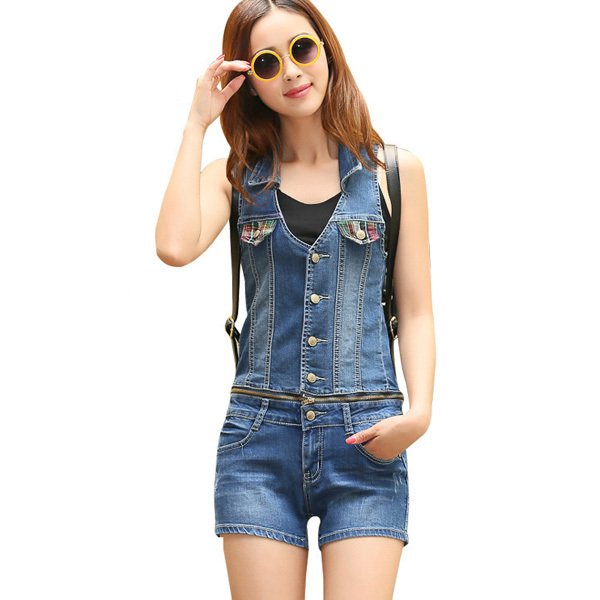 ff6ca9459eb9 bib denim overalls women 2015 summer style rompers womens jumpsuit 2 piece short  jeans pants blue denim overalls for women sy72