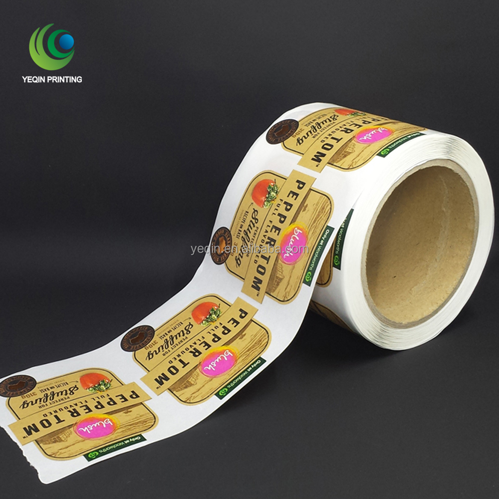 professional cmyk printed brown kraft self adhesive label sticker with custom logo