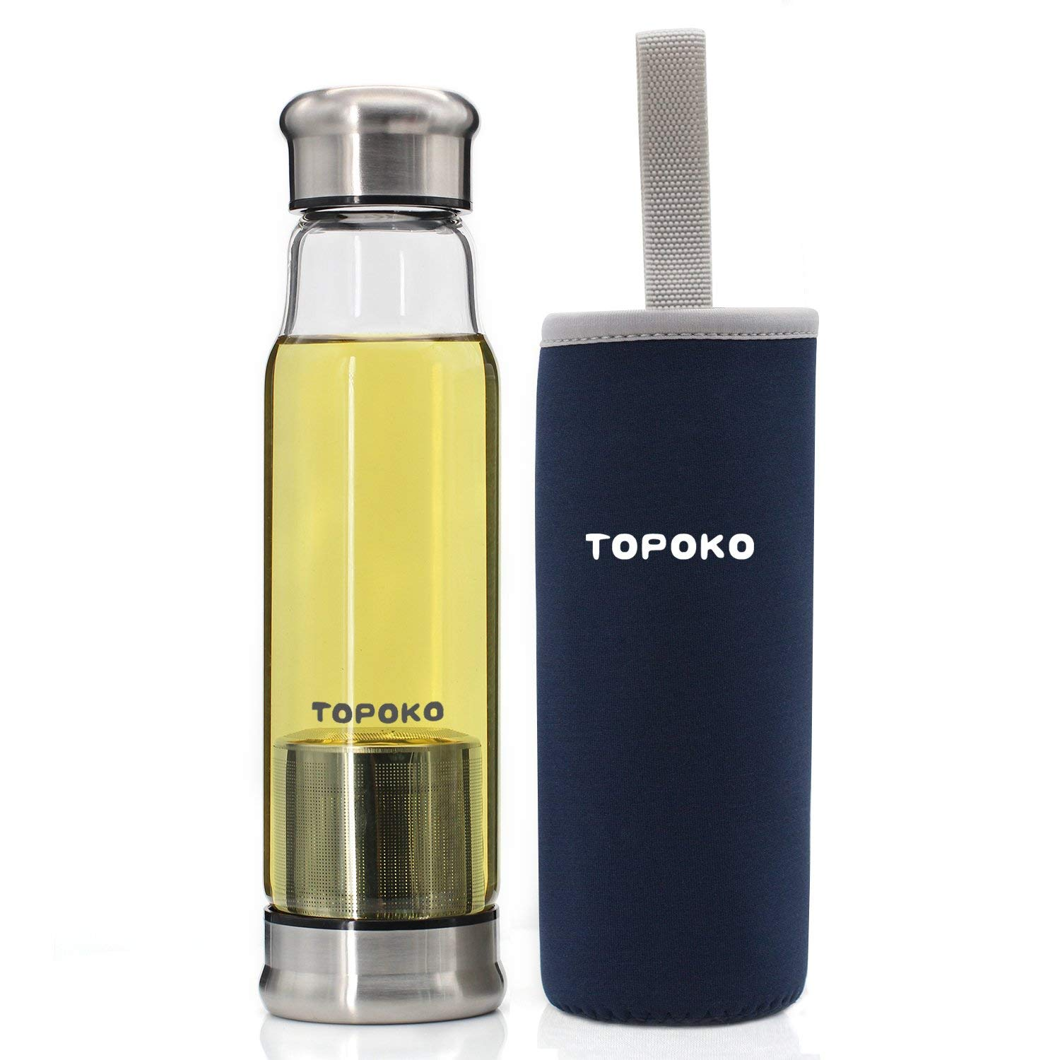TOPOKO Stylish Handmade 18.5 Ounce Glass Water Bottle-Extra Strong Crystal Glass Bottle Bpa-Free, Lead-Free With Handmade Handle Sleeve-Blue Sleeve+Infuser
