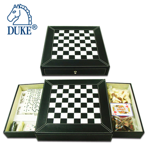 6 IN 1 GAME SET IN PVC LEATHER DRAWER BOX