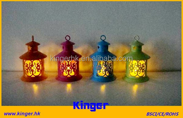 Outdoor Patio Lanterns Colorful Metal Candle holder with LED candle