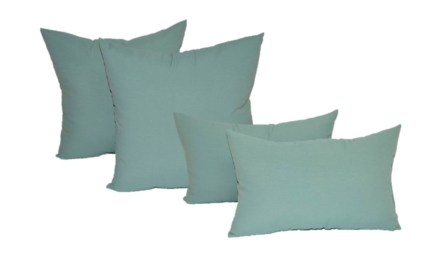 "Set of 4 Indoor / Outdoor Pillows - 20"" Solid Aqua / Spa Square Throw Pillows & Rectangle / Lumbar Decorative Throw Pillows"