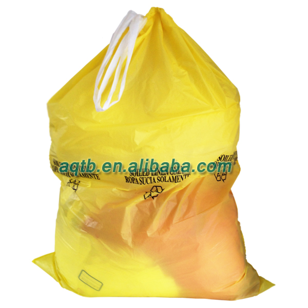 yellow drawstring infectious waste bag for incinerating
