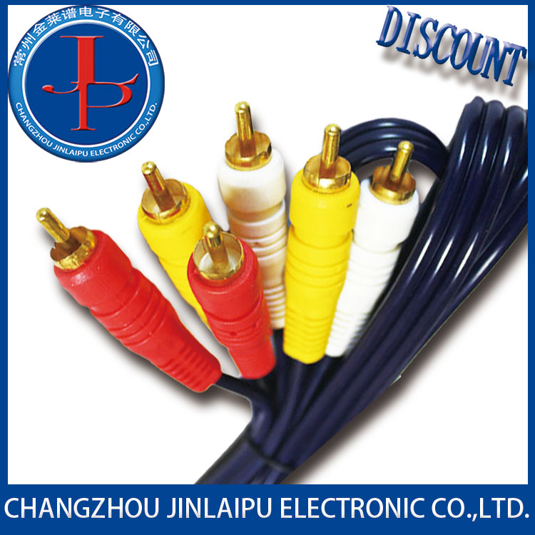 Jinlaipu superior mini jack dc 3.5mm male to 2 rca cable with factory price