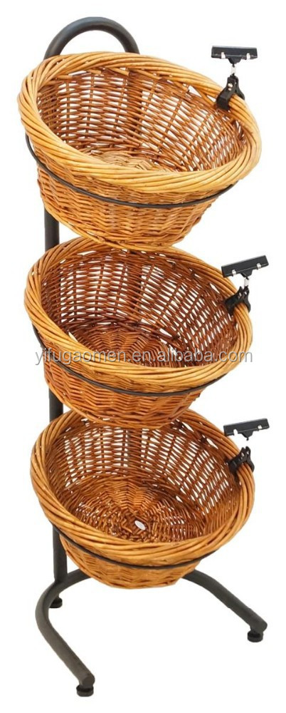3 Tier Basket Stand Sign Clips Wicker Black Fruit With Mobile Floor Metal Wire Display Rack
