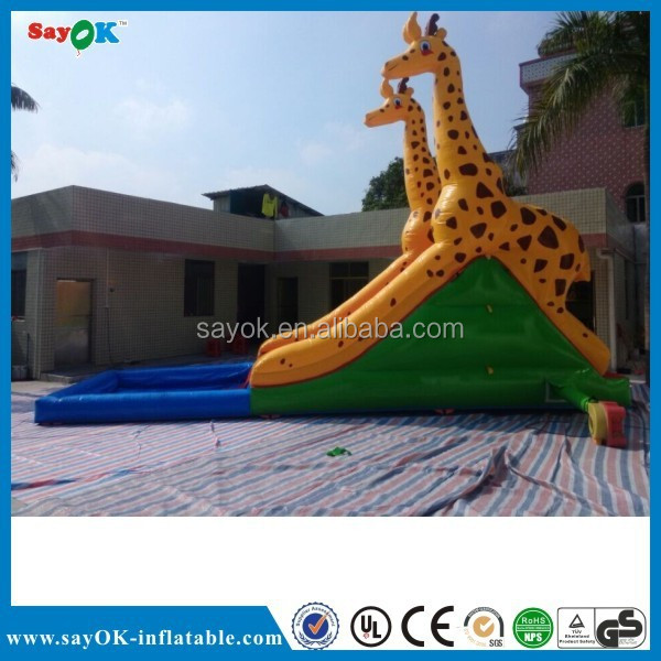 Commercial funny outdoor inflatable slide pool, inflatable slide with pool