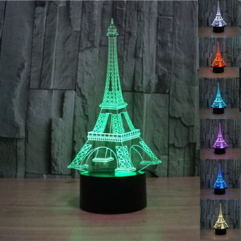 indoor decoration christmas 3d romantic france eiffel tower night led 7 color changing desk led night
