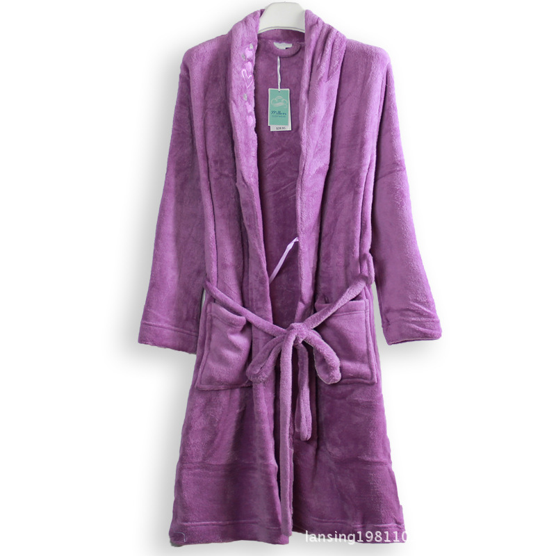4a65041d33 Get Quotations · Foreign trade of the original single elegant embroidered  bathrobes love thick coral velvet robe super soft