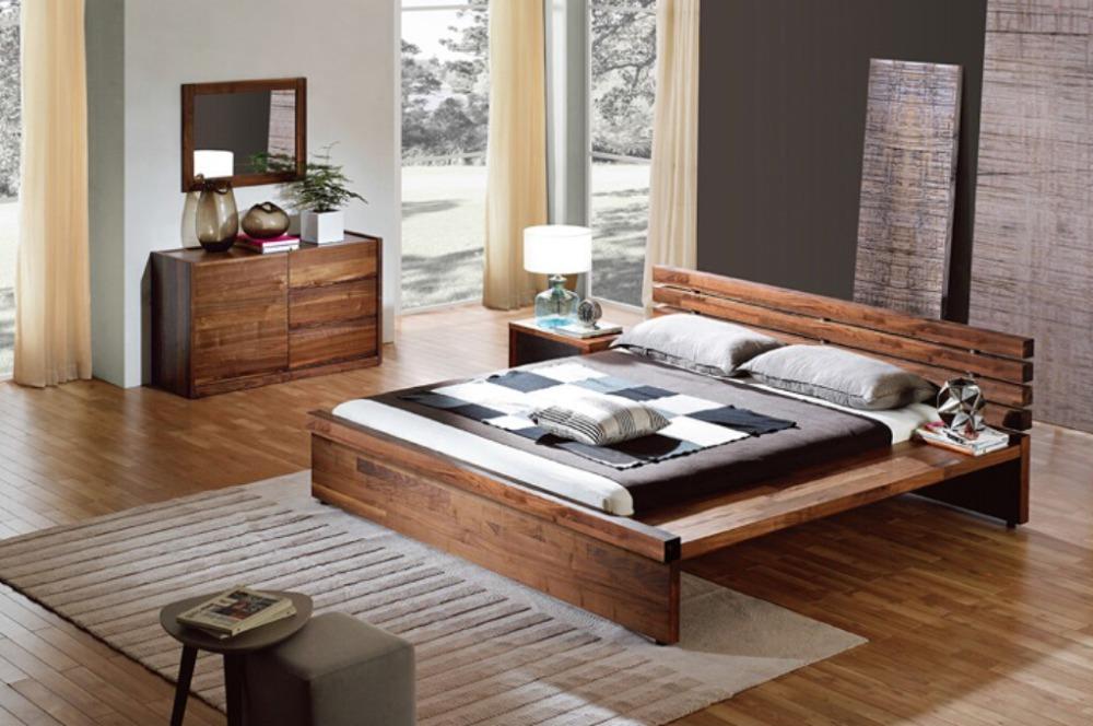 Modern vintage style walnut wooden box bed design bed room for Wooden box bed designs pictures