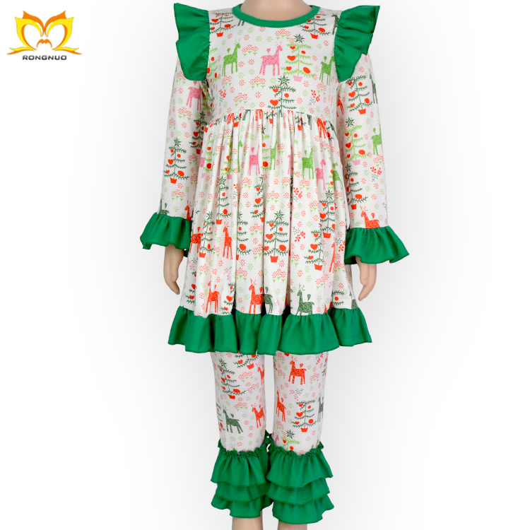 Boutique Baby Girls Christmas Outfits Kids Children's Ruffle Clothing Set Manufacturers Overseas