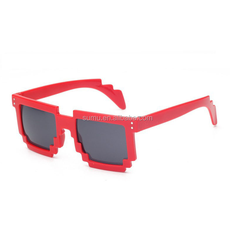 promotional logo printed customized color pixel 8 bit sunglasses