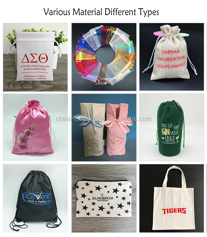 Custom Label acceptable Food Fruit packaging Pouches drawstring Natural cotton mesh grocery bag
