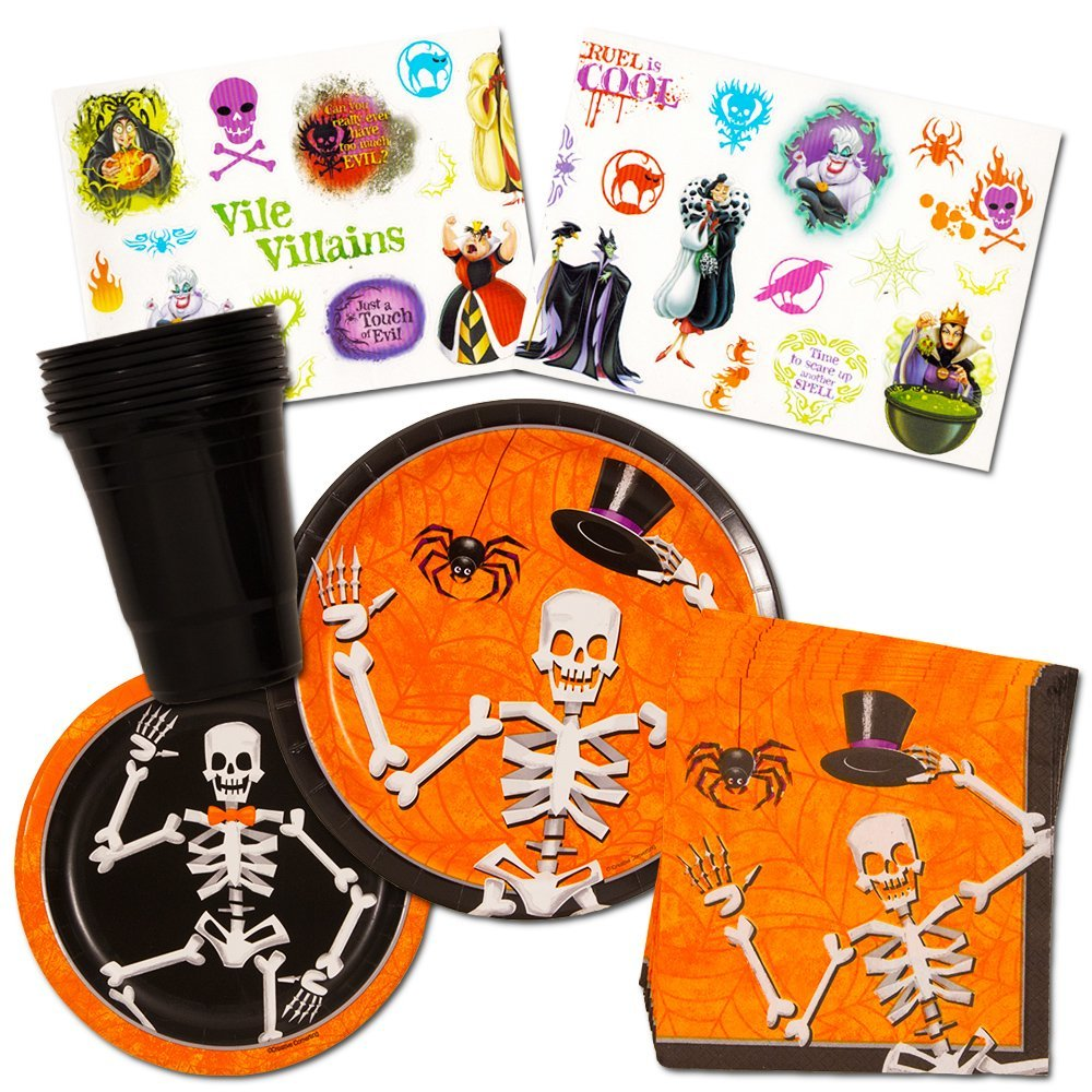 Halloween Party Supplies Decorations Set (Over 50 Pieces) -- Spooky Plates, Cups, Napkins and Disney Villains Stickers Party Favors