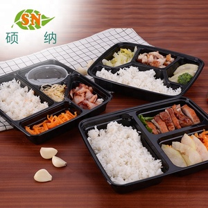 PP plastic disposable 5 compartment biodegradable lunch bento box with lid