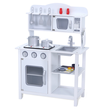 Hot sale photoelectric vocalization pretend food cooking play set toy kids blue wooden kitchen toy