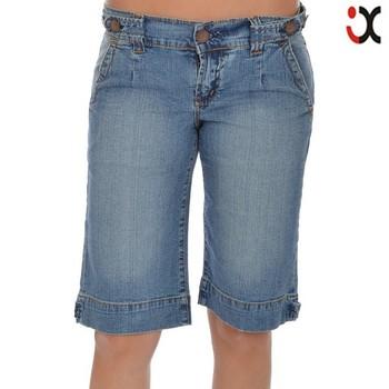 2015 Womens Denim Knee Length Stretch Blue Jeans Shorts Jxq818 ...