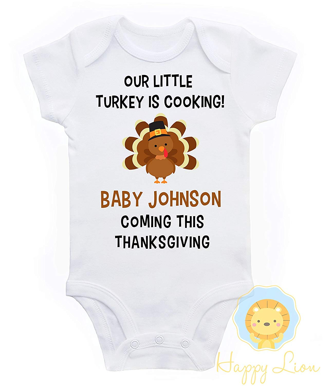 71878b89f Get Quotations · Happy Lion Clothing - Thanksgiving pregnancy Announcement  Onesie®, pregnancy announcement, thanksgiving announcement Onesie
