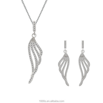 Elegant Sterling Silver Angel Wings Jewelry Set for Women, Engagement Wedding Silver Jewelry Wholesale