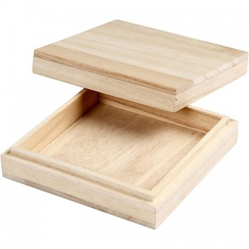 Slim Square Wooden Box With Lift Off Removable Lid Buy